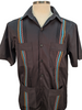 Dos Carolinas Black Short Sleeve Guayabera with Retro Spurs Colors Embroidery : Dos Carolinas - Satel's