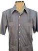 Dos Carolinas Blue Solid Short Sleeve Guayabera with Navy Embroidery - Satel's