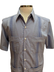 DOS CAROLINAS Navy Gingham Short Sleeve Guayabera with Navy Embroidery : Dos Carolinas - Satel's