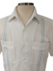 DOS CAROLINAS White Linen & Cotton Short Sleeve Guayabera with Turquoise Embroidery : Dos Carolinas - Satel's