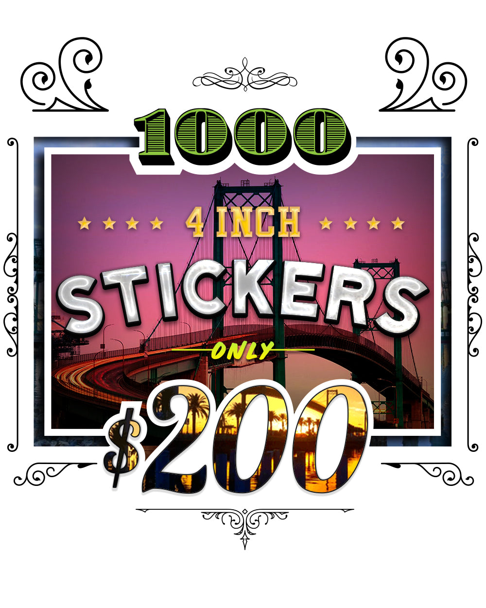 BLACK FRIDAY 1000 Stickers 4inch