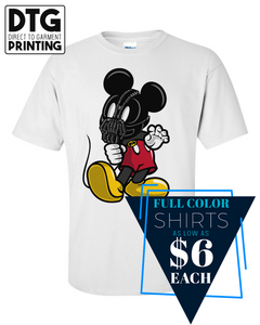Full Color Custom Printed White Tee