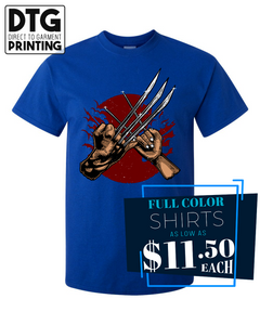 Full Color Custom Printed Royal Blue Tee