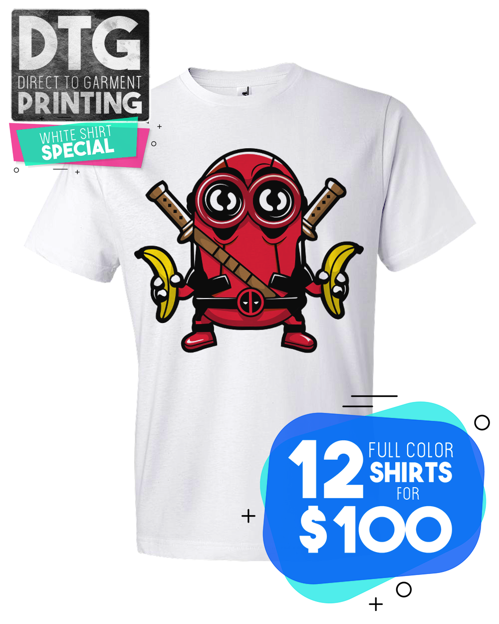 12 Full Color Custom Printed White Tees