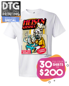 30 Full Color Custom Printed White Tees