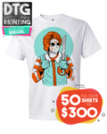 50 Full Color Custom Printed White Tees