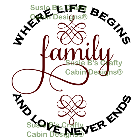 Family, where life begins and love never ends - SVG file