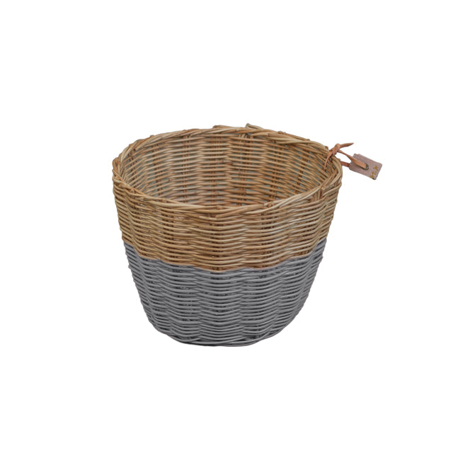 Rattan Basket - Stone Grey Small