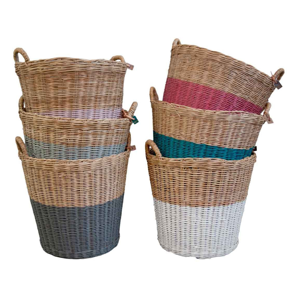 Rattan Basket - White Large