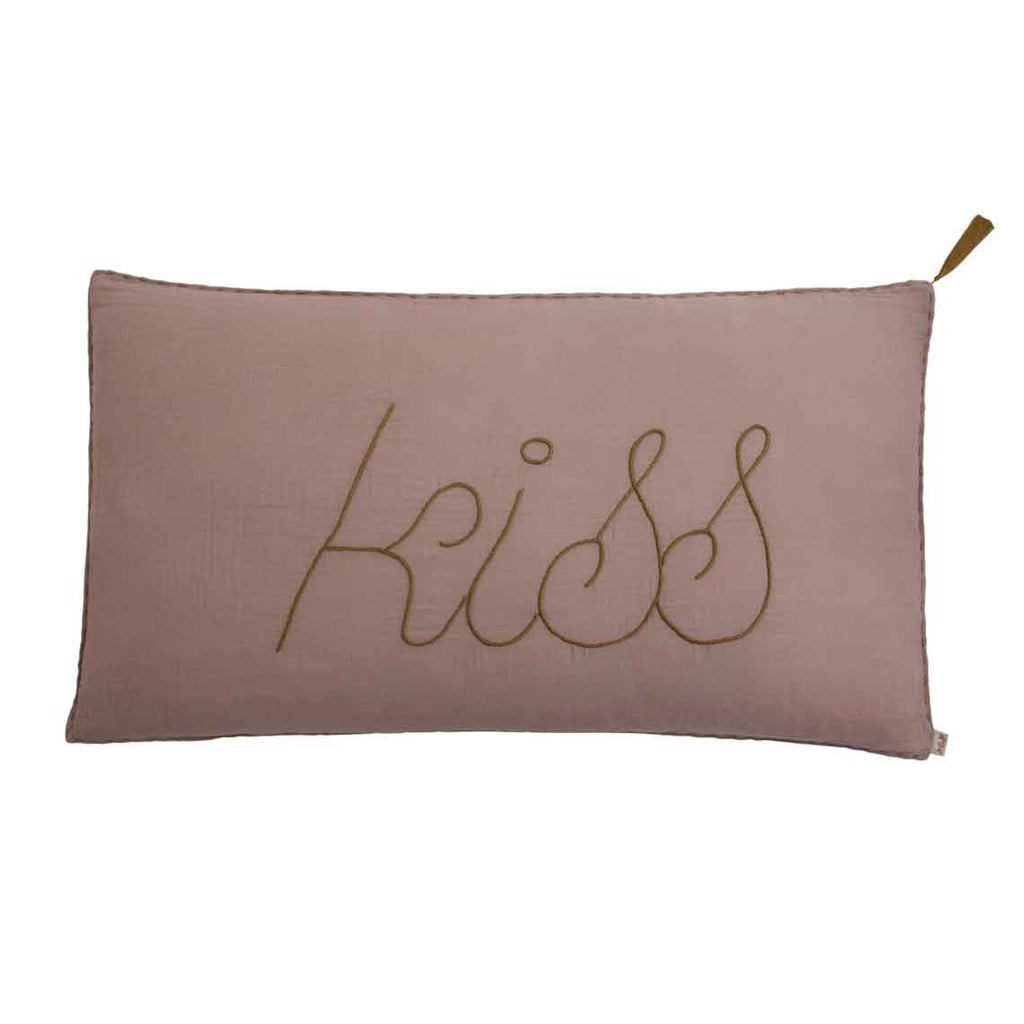 Message Cushion 'Kiss' - Dusty Pink