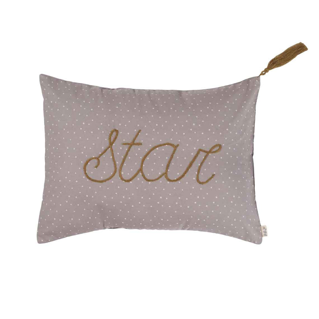 Message Cushion 'Stars' - Taupe with White Stars