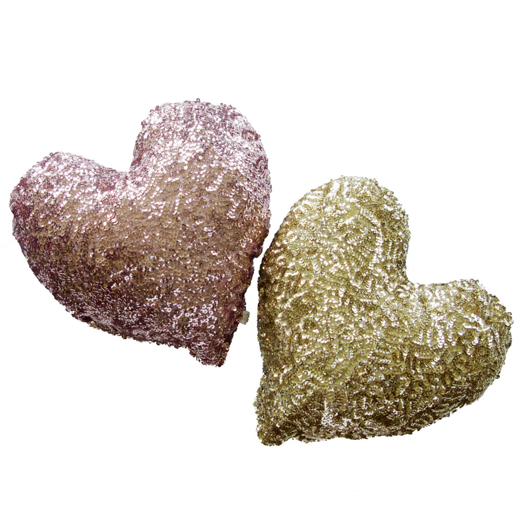 Heart Sequin Cushion Gold