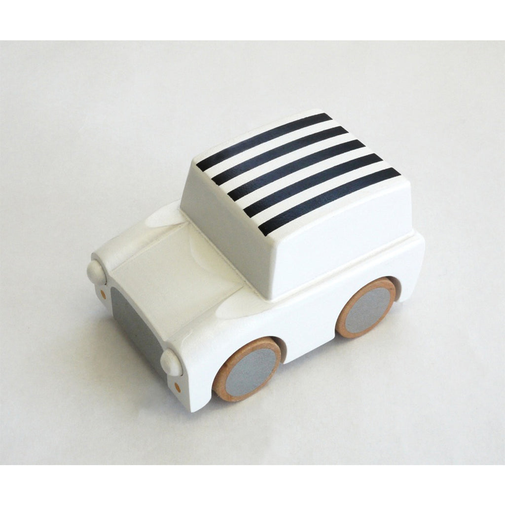 Kuruma Wooden Car (White w/ Black Stripes)
