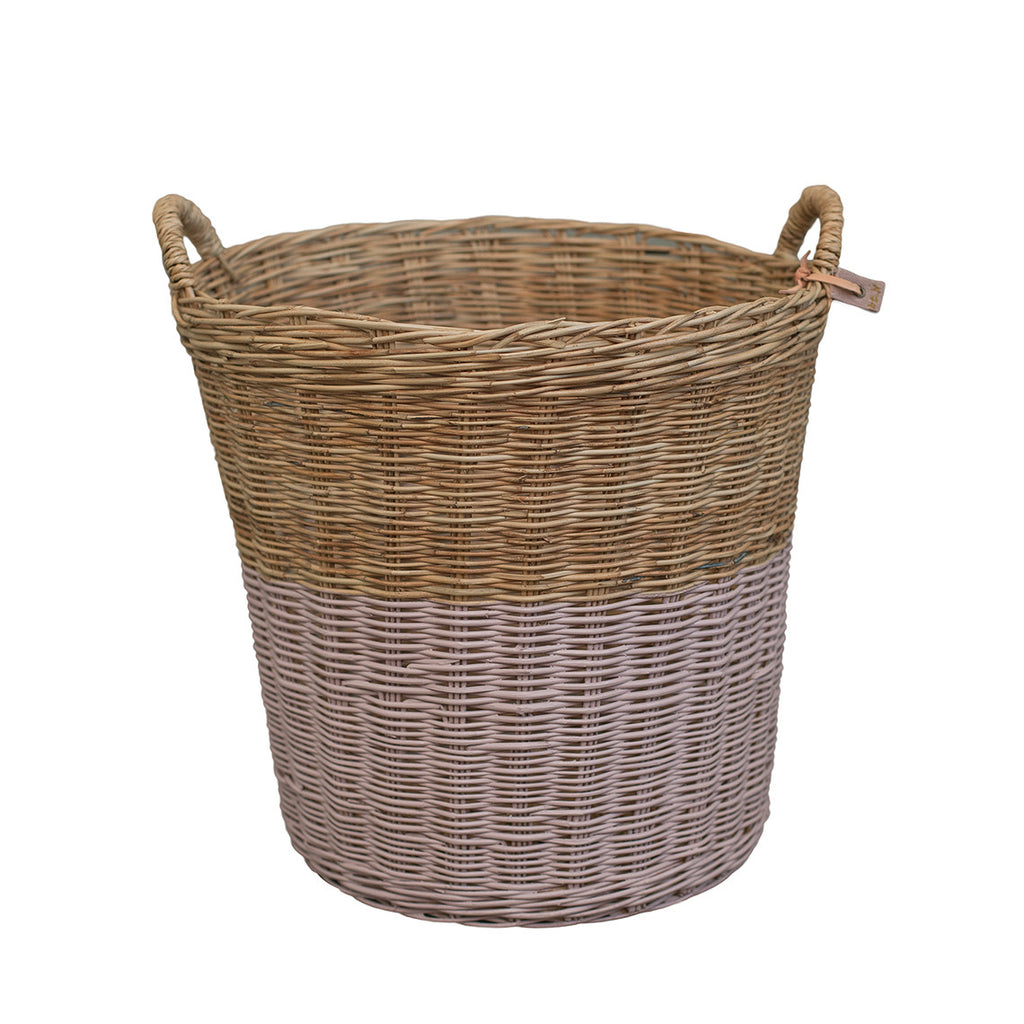 Rattan Basket - Dusty Pink Large