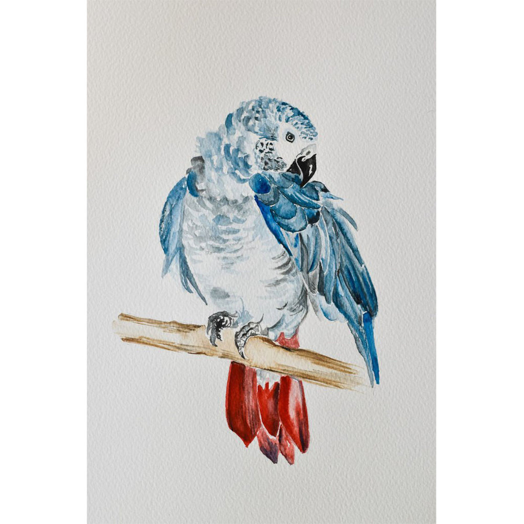 Watercolour Blue Parrot