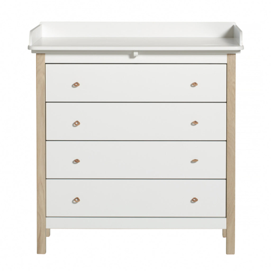Wood Dresser - 4 Drawers With Nursery Top