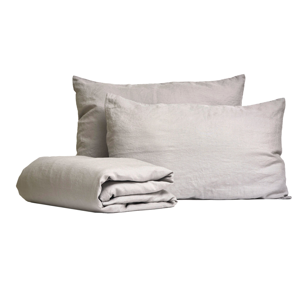 Linen Duvet Single Set - Dove Grey (140 x 200cm)