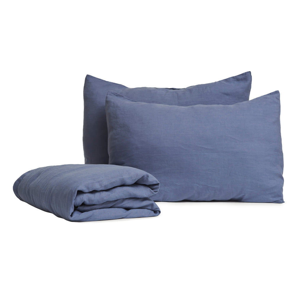 Linen Duvet Single Set - Marine Blue (140 x 200cm)