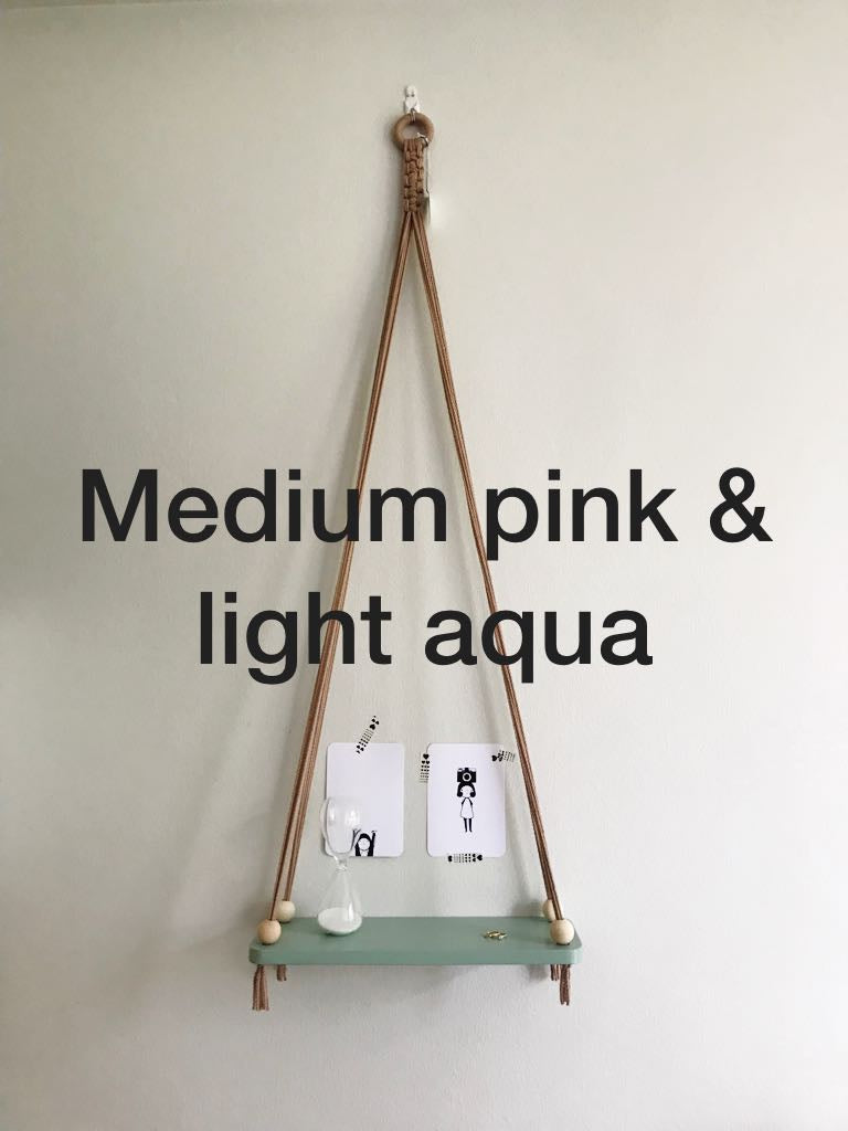 Macrame Swing - Pink & Light Aqua (Medium)