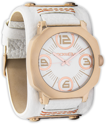Assassin White/Rose Gold, White Leather - Rockwell Australia