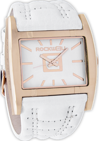 Apostle White/Rose Gold, White Leather - Rockwell Australia