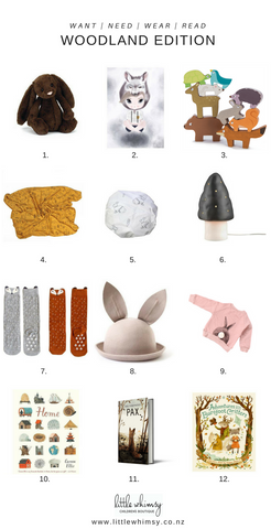 Want, need, wear, read - woodland edit at little whimsy