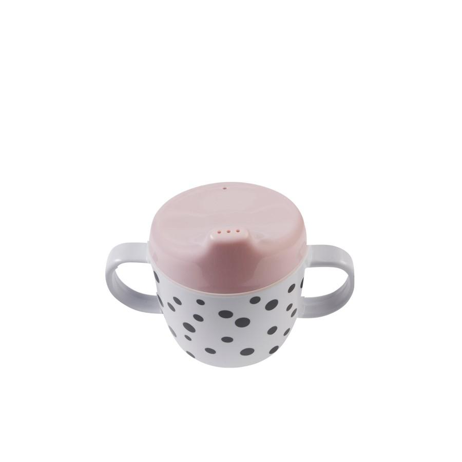 LOVE THIS! 2-Handle Spout Cup, Happy Dots, Powder from Done by Deer - shop at littlewhimsy NZ