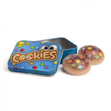 Wooden Food Cookies in a Tin