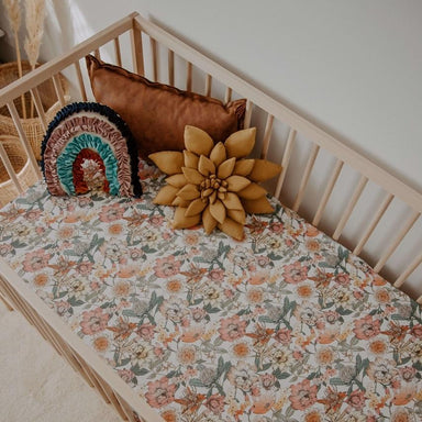 LOVE THIS! Fitted Cot Sheet | Australiana Floral from Snuggle Hunny - shop at littlewhimsy NZ