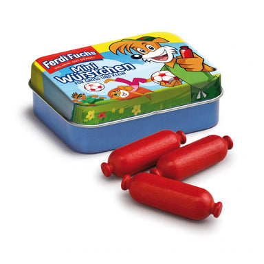 Wooden Food Mini Sausages in a Tin