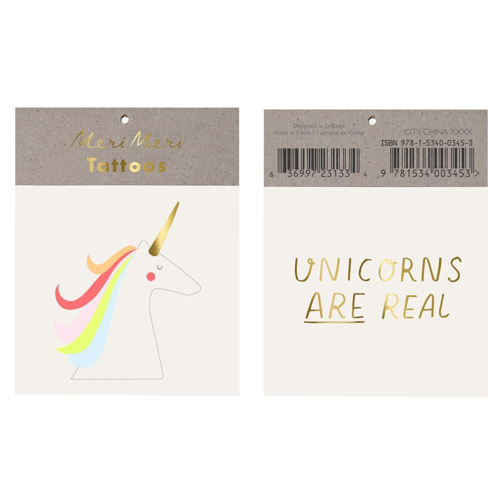 LOVE THIS! Meri Meri Unicorns Are Real Tattoos from Meri Meri UK - shop at littlewhimsy NZ