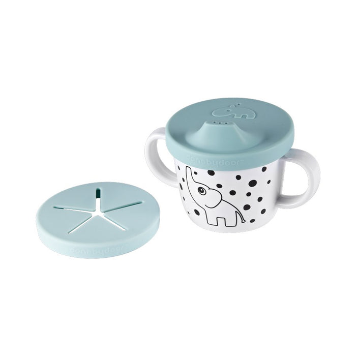 Silicone Spout + Snack Cup - Elphee Blue