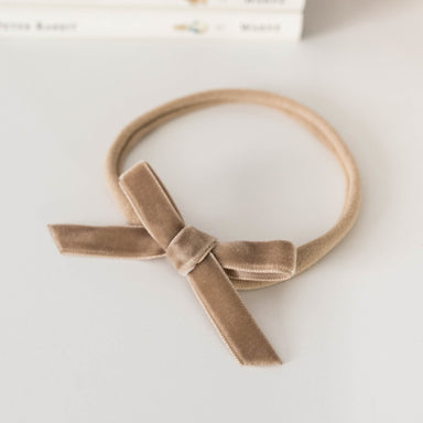 Velvet Mini Bow - Pebble