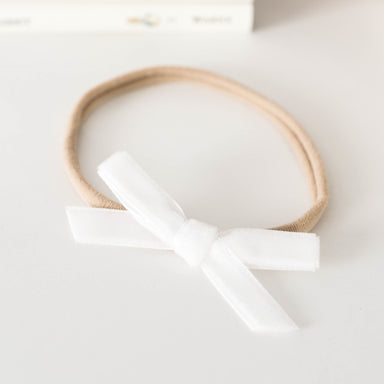 Velvet Mini Bow - White