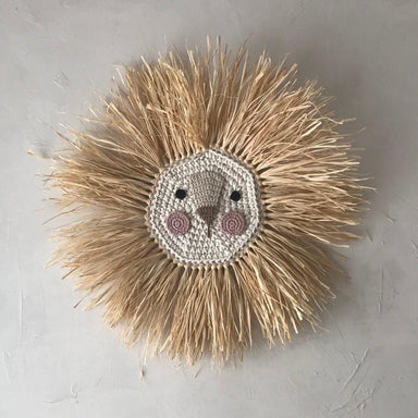 LOVE THIS! ILA Y ELA Lion Wall Hanging - Natural with Pink Face 65 cm from ILA Y ELA - shop at littlewhimsy NZ