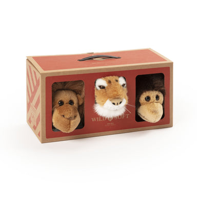 Wild & Soft Animal Head Jungle Mini Set - Chimp, Tiger, Orangutan