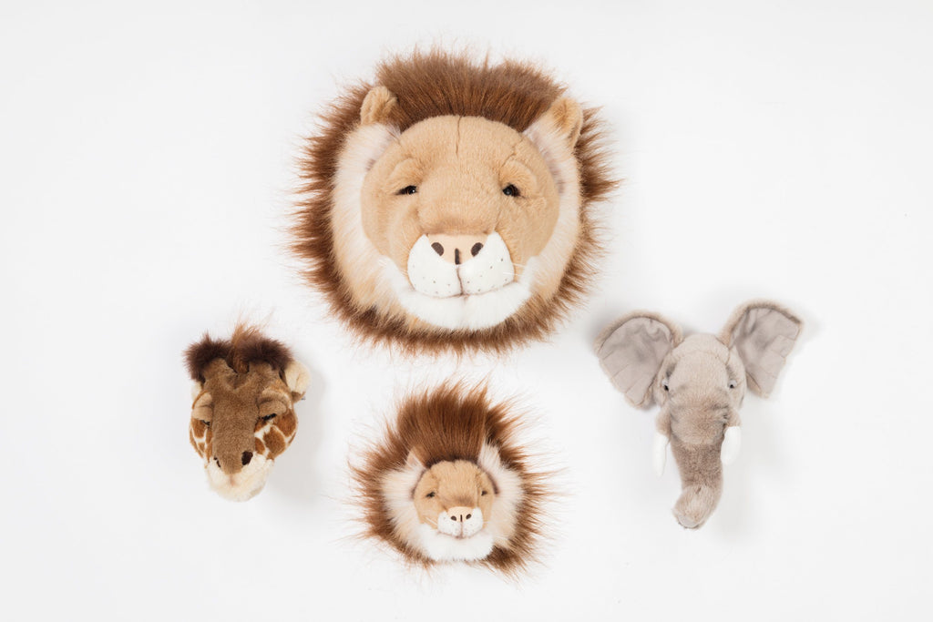 LOVE THIS! Wild & Soft Animal Head Safari Mini Set - Elephant, Giraffe, Lion from Wild & Soft - shop at littlewhimsy NZ