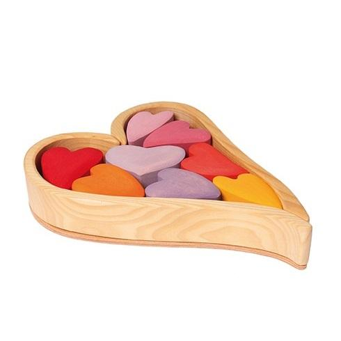 LOVE THIS! Grimm's Wooden Heart Blocks - Pinks from Grimm's - shop at littlewhimsy NZ