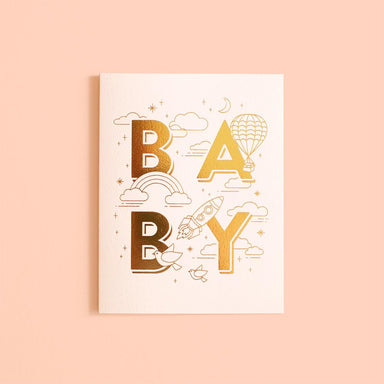 LOVE THIS! Baby Universe Pink Jumbo Greeting Card from Fox & Fallow - shop at littlewhimsy NZ