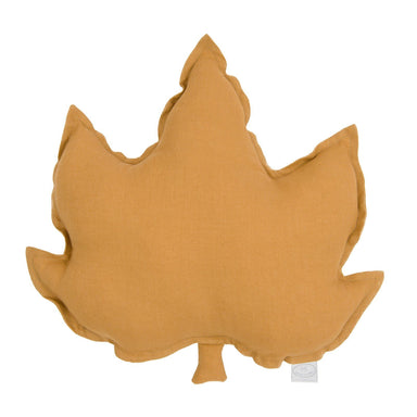 LOVE THIS! Maple Leaf Cushion Large - Caramel Mustard Linen from Cotton & Sweets - shop at littlewhimsy NZ