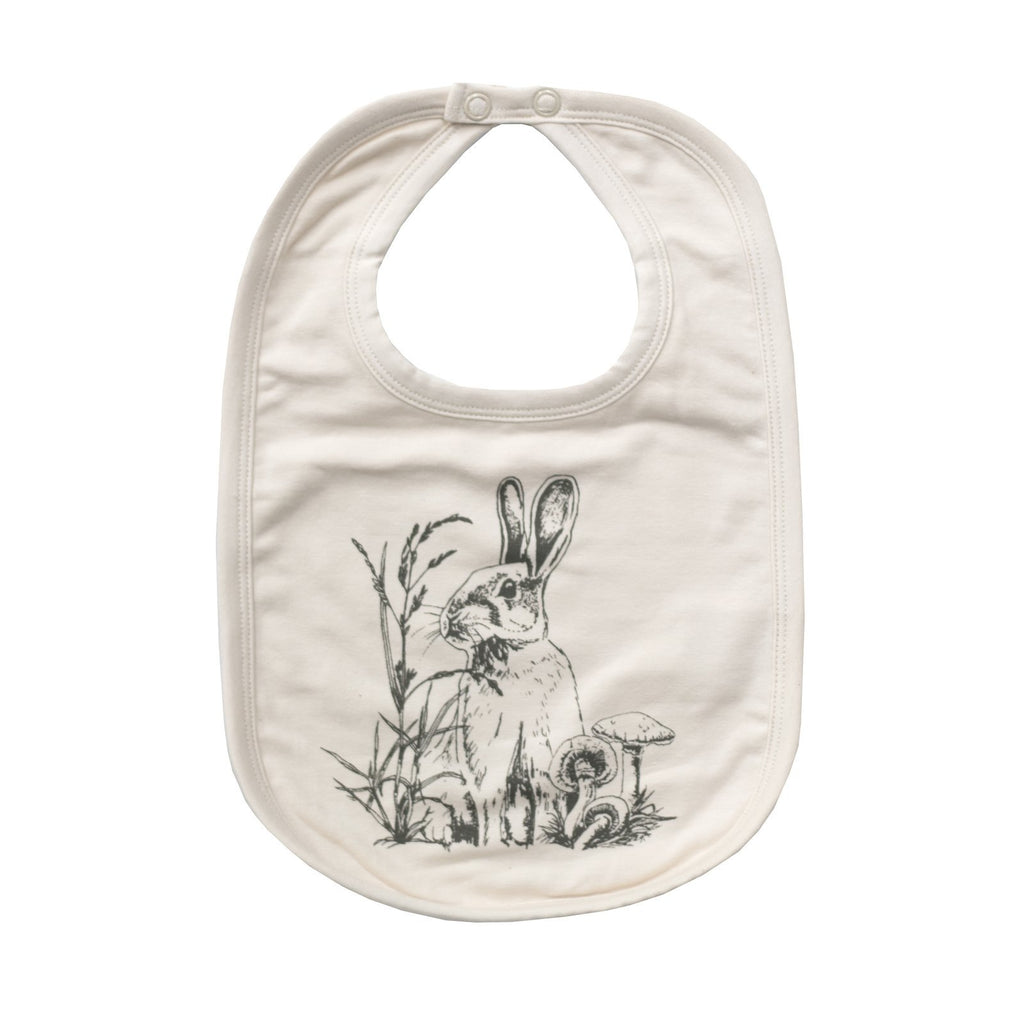 LOVE THIS! Essentials Bib - Almond Baxter Rabbit from Burrow & Be - shop at littlewhimsy NZ