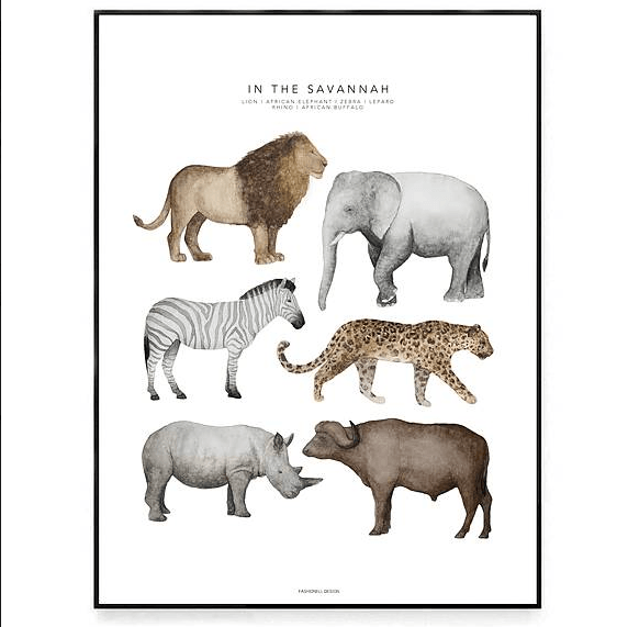 LOVE THIS! Fashionell In the Savannah Poster from Fashionell - shop at littlewhimsy NZ
