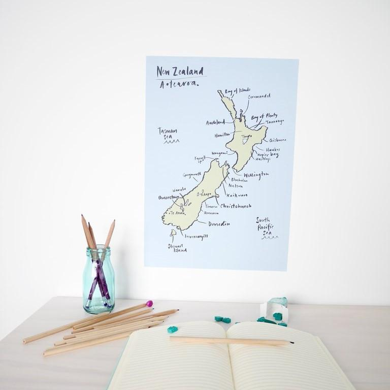 NZ Map Decal - Reusable from 100 Percent Heart - shop at littlewhimsy NZ