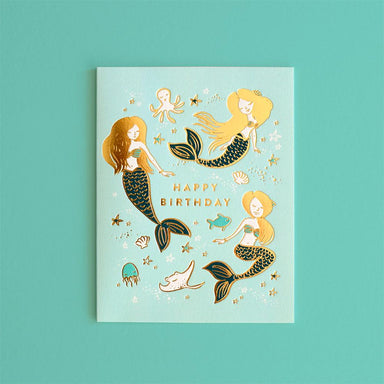 LOVE THIS! Happy Birthday Mermaids Greeting Card from Fox & Fallow - shop at littlewhimsy NZ