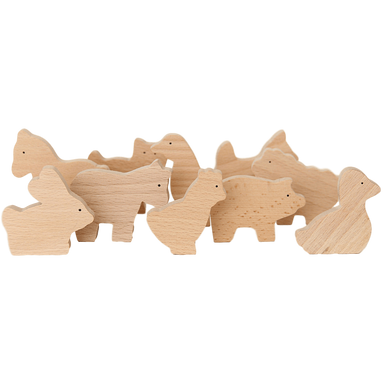 LOVE THIS! Natural Wooden Farm Animal Set from Goki - shop at littlewhimsy NZ