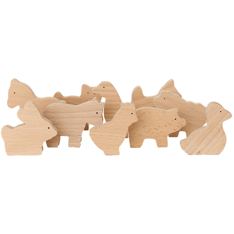 Natural Wooden Farm Animal Set from Goki - shop at littlewhimsy NZ