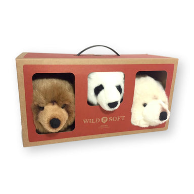 Wild & Soft Animal Head Bear Mini Set - Polar, Panda and Brown Bears
