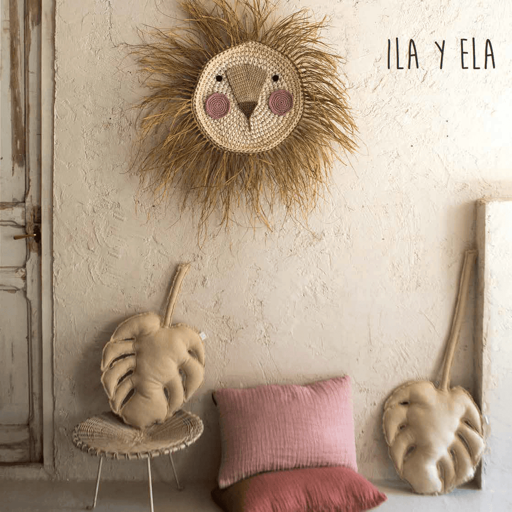 LOVE THIS! ILA Y ELA Lion Wall Hanging - Natural with Shiny Sand Face 65 cm from ILA Y ELA - shop at littlewhimsy NZ