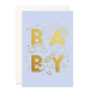 LOVE THIS! Baby Universe Blue Jumbo Greeting Card from Fox & Fallow - shop at littlewhimsy NZ