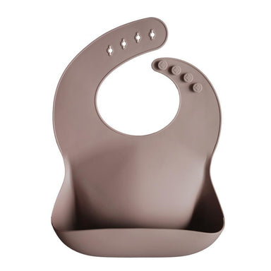 LOVE THIS! Mushie Silicone Baby Bib - Warm Taupe from Mushie - shop at littlewhimsy NZ